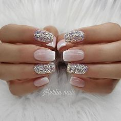 23 Best Gel Nail Designs to Copy in 2019 French Ombre and Glitter Gel Nails The post 23 Best Gel Nail Designs to Copy in 2019 appeared first on Berable. 23 Best Gel Nail Designs to Copy in 2019 Cute Gel Nails, Glitter Gel Nails, Gel Nail Art, Diy Nails, Pretty Nails, Blue Glitter, Sparkly Nails, Bio Gel Nails, Nail Polish