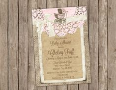 Girl Baby Shower Invitation with Vintage by PartyGirlPress on Etsy