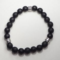 Men's Bracelet 8mm Matte Black Onyx #mensbracelets #studsclub #fashion
