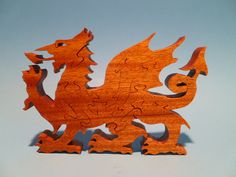 Scroll Saw Wooden WELSH DRAGON Puzzle Wood Handmade by WoodAnimals, $45.00