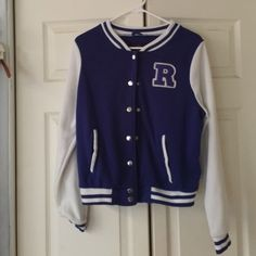 """Blue letterman sweater In good condition, only worn once, it's button up and has the letter """"R"""" on it. Sweaters Cardigans"""