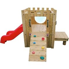 Garden Castle: A wooden climbing frame for children over the age of 2. Complete with a slide and a small rock climbing face. This piece of equipment will improve children's gross motor skills, basic strength and balance whilst also providing an area for fun play and recreation.  : Wood is rounded at the edges to avoid injury or harm : Meets all relevant safety standards : W/L/PlatformH 1.5 x 3 x 0.6m