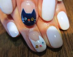 I am showcasing easy cat face nail art designs & ideas of Meow at your cats and show her your nails having adorable cat faces. Cat Nail Art, Cat Nails, Love Nails, How To Do Nails, Nail Art Designs, Garra, Kawaii Nails, Nails For Kids, Creative Nails