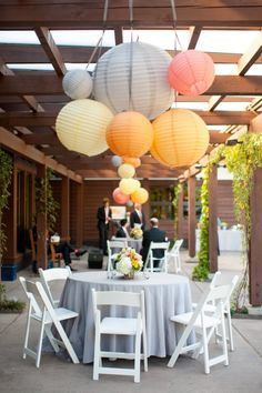 Wedding paper hanging lanterns in pastel shades | Duke University Wedding from A Swanky Affair | Style Me Pretty