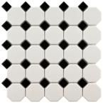 EliteTile SAMPLE - Retro Random Sized Glazed Porcelain Octagon Mosaic in Matte White with Glossy Black Dot Best Floor Tiles, Bathroom Floor Tiles, Wall Tiles, Downstairs Bathroom, Kitchen Floor, Shower Floor, Small Bathroom, White Bathrooms, Flooring Tiles