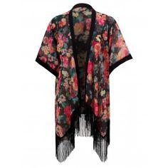 Kimono de Flores Negro T299