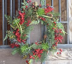 """- Beautiful 22"""" Evergreen Wreath with Multi Colored Red & Green Berries - This wreath is part of our All Weather Wreaths That can be Used Out Doors - Built on a Sturdy Grapevine Base to Last for years"""