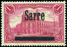 Saar 1945-1956. Perf. 26 -17. 1 Mark carmine.(Michel No. 17B). R.