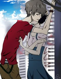 Twelve and Lisa - cause I really like them. Tried to keep the anime style. D: Zankyou no terror / Terror in resonance If you're wondering a. I'm sorry, Lisa. Fallout 3, Empire, Animation Film, Anime Style, Drawing, Anime Couples, Kawaii Anime, Photos, Pictures