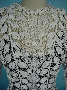 Antique Irish Crochet Gown/Wedding dress. Amazing!  Click link if you want to see close ups of this amazing, hand (many hands most likely), crocheted dress