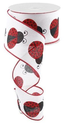 """Excited to share this item from my #etsy shop: Ladybug Wired Ribbon By the Roll, 2.5"""" Large Red Ladybug wired ribbon, white red black ladybug ribbon, RG0166227 #white #hatmakinghaircrafts #canvas #red #waysidewhimsy #wreathsbyrobin Floral Ribbon, White Ribbon, Red Ribbon, Burlap Rolls, Black Ladybug, Wreath Making Supplies, Thing 1, Patriotic Wreath, Printed Ribbon"""