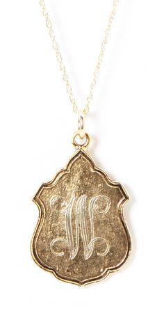 Crest monogram necklace
