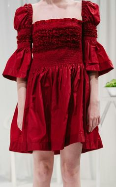 Ruched / Sheered stretch waist Boho Romantic short red dress with nostalgic Medieval influences. Molly Goddard SS16