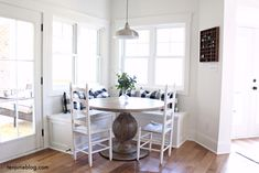Ten June: A Farmhouse, Buffalo Check Built in Breakfast Nook white painted buil. Ten June: A Farmh Farmhouse Kitchen Curtains, Farmhouse Trim, Farmhouse Interior, Breakfast Nook Curtains, Breakfast Nooks, Eat Breakfast, Kitchen Vent Hood, Interior Door Trim, Rustic Wooden Table