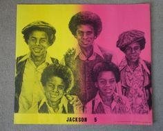 rare Vintage Black Light JACKSON 5 Poster 1971 David Mosley Art Neon Michael 70s