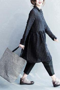 Bubble Cotton Black Stripe Lovely Dresses Long Sleeve Women Clothing Q3124