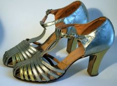 Multi-strap evening sandals of silver with some gold straps on the sides and T-strap closure over the instep. Labelled Bentley - Combination Last. Evening Sandals, Gold Leather, T Strap, Fashion History, 1930s, Peep Toe, Vintage Fashion, Oilcloth, Heels