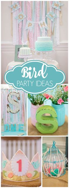 Here's a very cute bird themed first birthday party! See more party ideas at CatchMyParty.com!