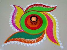 Beautiful/AMAZING Innovative rangoli design by Maya Rangoli Side Designs, Simple Rangoli Designs Images, Rangoli Borders, Free Hand Rangoli Design, Small Rangoli Design, Colorful Rangoli Designs, Rangoli Ideas, Rangoli Designs Diwali, Best Mehndi Designs