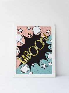 Cute Dinky Mix. KABOOM! pop art comic book quote by DinkyMix typography design nursery wall art for bedroom or playroom
