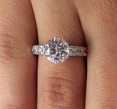 3 Ct Round Cut Diamond Engagement Ring Enhanced SI1/F 14K White Gold