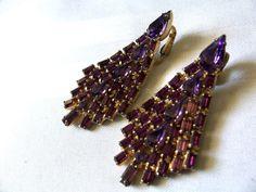 Vintage WEISS Signed Earrings Purple Rhinestone Chandelier Clip On #Weiss #Chandelier