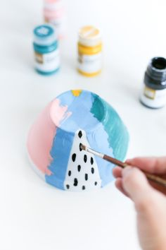 Make these DIY Painted Ice Cream Bowls for your next movie/ice cream night! // saltycanary.com // #ad Find Your #Aah
