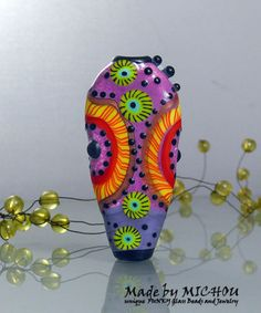 Abstract - Magic of the dragonfly in orange, purple, pink and green - Art Glass bead by Michou P. Anderson on Etsy, $99.00