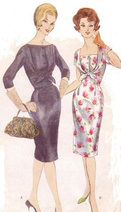 Rare 1960s Vogue Sewing Pattern 4173 Womens One Piece Wiggle Dress with Front Bodice Tie Size 16 Bust 36 Vogue Special Design