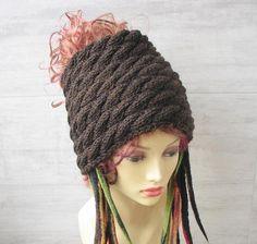 Golden bronze tube hat, dreadlock big headband knitted Tam, wide hair wrap winter, dreadlocks  accessories for long hair unisex handmade