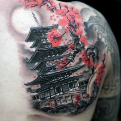 50 Japanese Temple Tattoo Designs For Men - Buddhist Ink Ideas Japanese Temple Tattoo, Japanese Tattoo Symbols, Japanese Tattoo Designs, Tattoo Designs Men, Japanese Back Tattoo, Japanese Geisha Tattoo, Japanese Tattoos For Men, Traditional Japanese Tattoos, Japanese Sleeve Tattoos