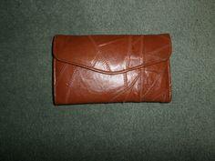 Women's Vintage Brown Stitched Design Genuine Leather Trifold Fashion Wallet #VintageUnbranded #SnapCloseEnvelopeFashionTrifoldWallet
