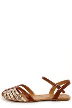 00421bc7014 Paprika Tandy Dark Tan and Ivory Flat Sandals