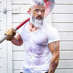 Daily Dose of beard styles and men's grooming tips. Grey Hair Beard, Grey Hair And Beard Styles, Hair Styles, Beard Growth Tips, Beard No Mustache, Moustache, Grey Beards, Bald Men