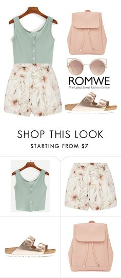 """ROMWE Top"" by tania-alves ❤ liked on Polyvore featuring Haute Hippie, Birkenstock, New Look and MANGO"