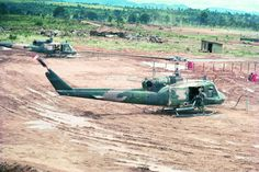 A team of USAF UH-1Es from the 20th SOS refuel at Dak To prior to a SOG mission (Don Joyce, vhpap.org)