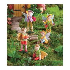Nature Themed Woodland Fairies, Set Of 5 Fairies, Boy - Hearthsong (With images) Fairy Village, Fairy Tree Houses, Fairy Garden Houses, Fairy Gifts, Mini Fairy Garden, Elves And Fairies, Fairy Furniture, Woodland Fairy, Garden Crafts