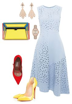 """Blue & Yellow!!!"" by la-harrell-styling-co on Polyvore featuring Whistles, Christian Louboutin, Issey Miyake, Tabitha Simmons, Burberry and Zoe & Morgan"