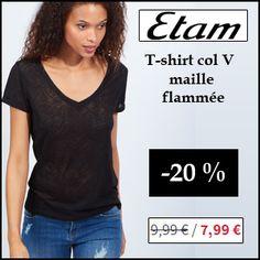 #missbonreduction; 20 % de réduction su le T-shirt col V maille flammée chez Etam.http://www.miss-bon-reduction.fr//details-bon-reduction-Etam-i179-c1831841.html