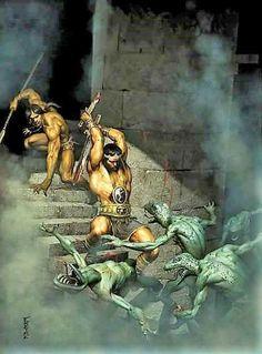 The One Born of Fire — Kull by Marc Freire. Fantasy Heroes, Fantasy Art Men, Fantasy Warrior, Fantasy Artwork, Atlantis, Conan O Barbaro, Vikings, John Carter Of Mars, Heavy Metal Art