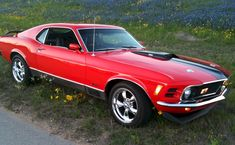 Red 1970 Mach 1 Mustang Fastback