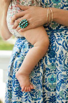 Gorgeous florals in hues of blue & white | Mom & baby | via Plum Pretty Sugar
