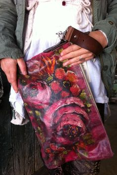 Hand painted clutch .... painting by Jennifer Lanne fashioned by Melody Elizabeth