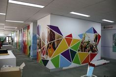 Interior decorating ideas for offices and homes. Focusing on wall stickers, wall decals and wall graphics. Ideas, new products and other decorating ideas for offices, homes, restaurants. Office Wall Design, Office Mural, Office Walls, Office Decor, Kids Church Rooms, Office Wall Graphics, School Murals, Clinic Design, Mural Wall Art