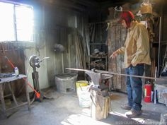 Julian Williams, one of two Blacksmiths who work at the forge of Master Blacksmith Phillip Simmons (1912-2009) at 30 1/2 Blake Street (Charleston, SC).