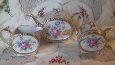 Sadler 3 piece teaset Barrel Shaped cabbage rose Floral Gilded pat No 1736 teapot milk jug sugar bowl ** PRICE NEGOTIABLE #1