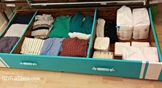 Screw casters to the bottom of an old bookshelf to make a sturdy under-bed pullout storage space. | 42 Brilliant Ways To Binge Organize…