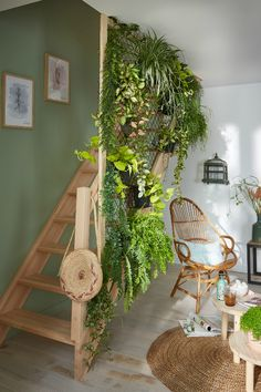 the living room, the stairway becomes a real hanging garden! - -In the living room, the stairway becomes a real hanging garden! House Plants Decor, Plant Decor, Interior Garden, Interior And Exterior, Green Life, Cozy House, Room Inspiration, Living Room Decor, Home And Garden