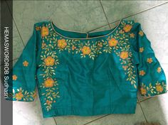 One of my creations Simple Blouse Designs, Blouse Designs Silk, Choli Designs, Designer Blouse Patterns, Dress Designs, Flower Designs, Embroidery Works, Hand Embroidery, Machine Embroidery