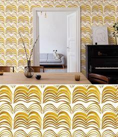 Accent Wallpaper, More Wallpaper, Unique Wall Art, Unique Home Decor, Bainbridge Island, Ceramic Wall Art, Wall Installation, Golden Color, New Artists